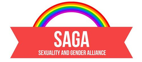 The SAGA logo has a banner that says SAGA: Sexuality and Gender Alliance, with a rainbow over it