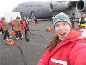 Me in front of our HUGE C-17 taking us down to Antarctica.
