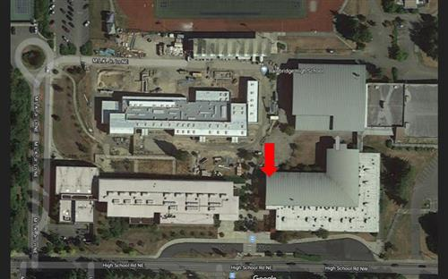 BHS Campus Map.  Enter at red arrow, exit at gray arrow.