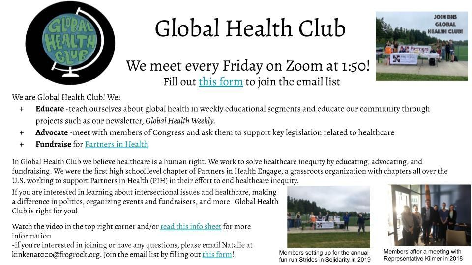 Global Health Club educates, advocates, and fundraises for global health issues. Contact kinkenat000@frogrock.org