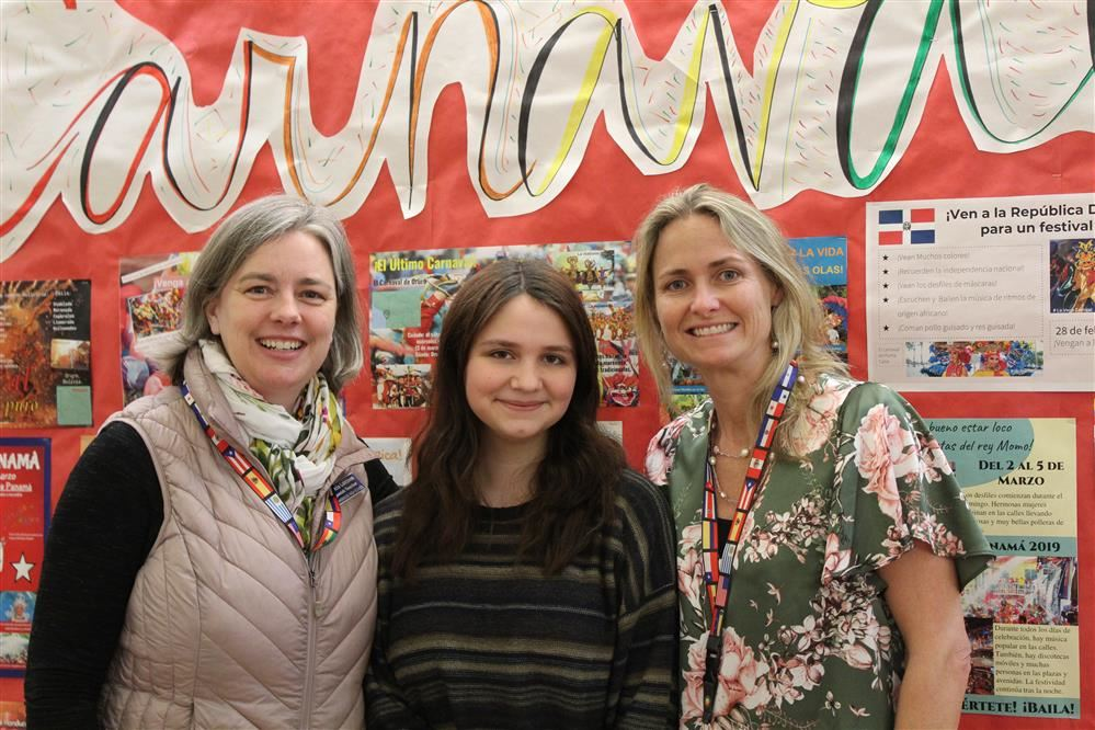 Sophomore Ava Rockefeller Campbell pictured with Spanish teachers Patricia Lahtinen and Katie Hes