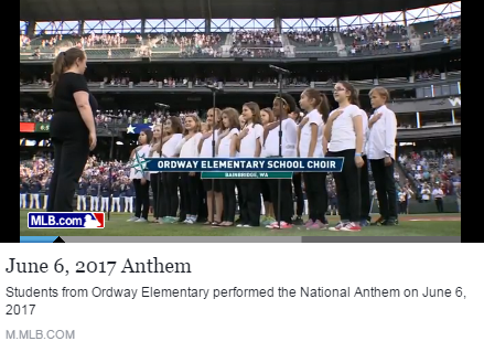 Ordway Elementary students perfromed the National Anthem at the Seattle Mariners' game.