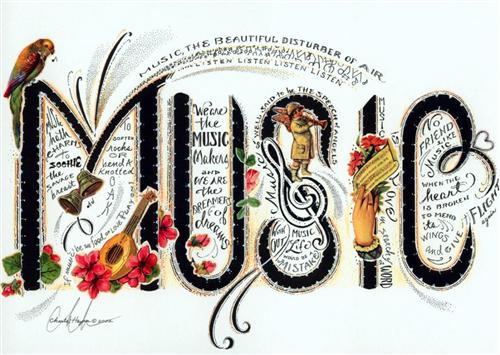 "The word ""music"", decorated with instruments, birds, and flowers"