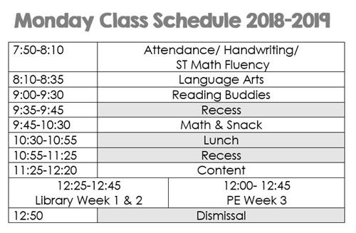 sheehan erin first grade weekly schedule